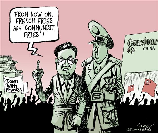 Patrick Chappatte - The International Herald Tribune - Anti-French Sentiment in China - English - Asia,China,France,Hu Jintao,Human Rights,Economy,Olympic Games,Demonstrations