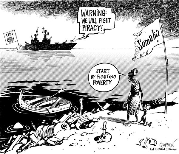 Patrick Chappatte - The International Herald Tribune - PIRATES of Somalia - English - Third World,Africa,Somalia,Sea,Criminality,Pirates,Poverty,UN,United Nations,Army,Ship