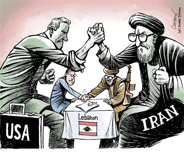 Patrick Chappatte - The International Herald Tribune - Accord in LEBANON - English - Lebanon,Civil War,Reconstruction,Middle East,Hezbollah,Peace,Negotiations,Iran,USA