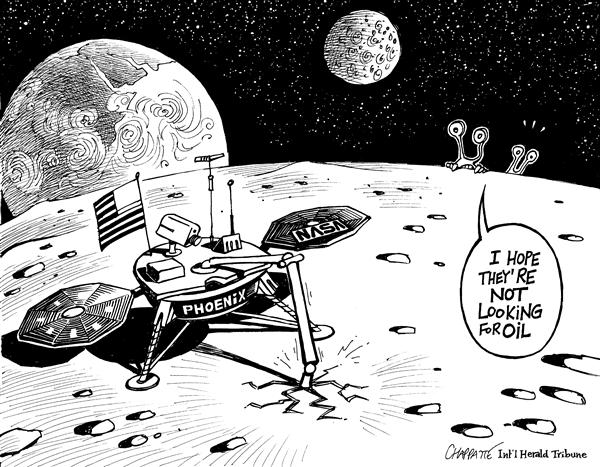 Patrick Chappatte - The International Herald Tribune - NASA Looking for Ice on MARS - English - USA,Mars,Space,NASA,Oil,Phoenix