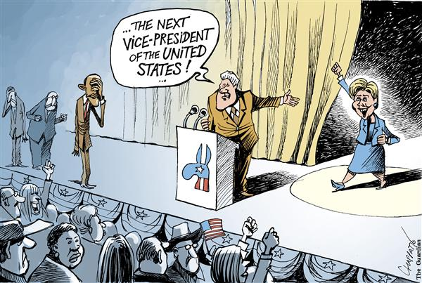 Patrick Chappatte - globecartoon.com - Hillary FOREVER - English - USA,Hillary Clinton,Bill Clinton,Obama,Presidential Election 2008,Democrats