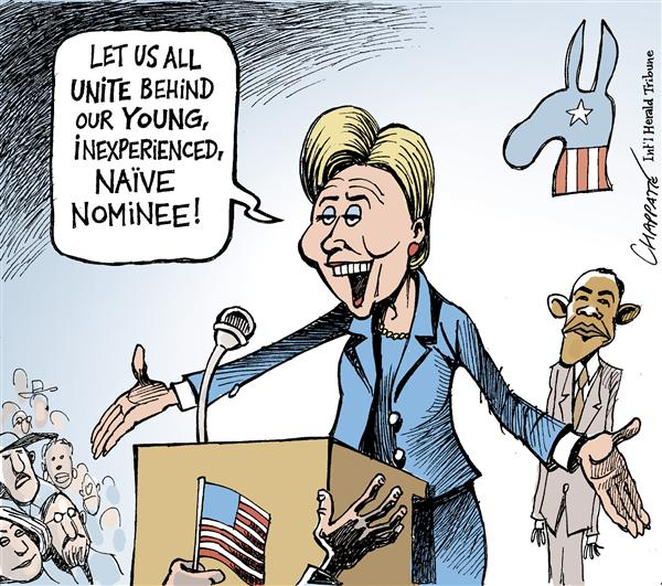 Patrick Chappatte - The International Herald Tribune - Hillary CONCESSION SPEECH - English - USA, Presidential Campaign 2008, Obama, Hillary Clinton, Democrats, Youth