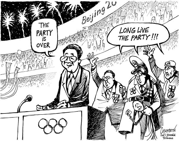 Patrick Chappatte - The International Herald Tribune - THE GAMES ARE OVER - English - Asia, China, Hu Jintao, Sports, Olympic Games, Beijing 2008, Power, Communism, Human rights
