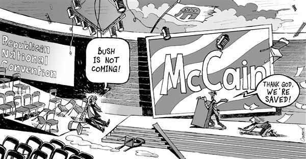 Patrick Chappatte - Le Temps, Switzerland - GUSTAV Shakes Up GOP - English - USA,McCain,Presidential Election 2008,Republicans,GOP,New Orleans,Natural Disaster,Environment,Hurricane Gustav,George W Bush