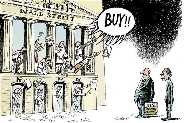 Patrick Chappatte - globecartoon.com - The GRAND BAILOUT - English - Economy,USA,Finance,Subprime,Crisis,Stock Market,Wall Street,Crash,Bank,Government,Fed,Treasury,Housing,Real Estate,Speculation