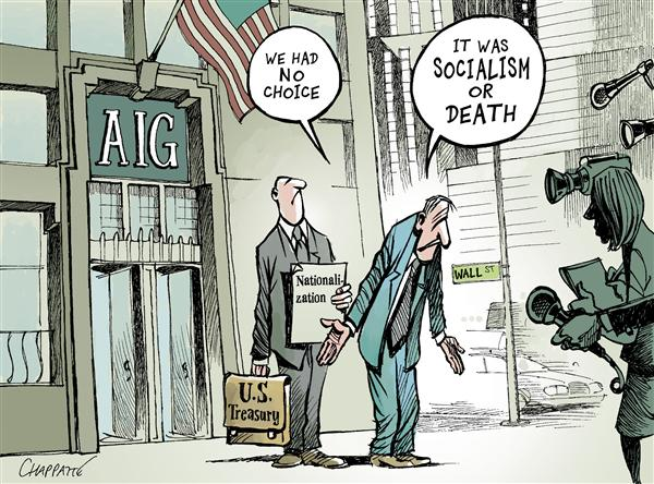 Patrick Chappatte - NZZ am Sonntag - NATIONALIZATIONS on Wall Street - English - Economy,USA,Finance,Subprime,Crisis,Stock Market,Wall Street,Crash,Bank,Government,Fed,Treasury,Housing,Real Estate,Speculation,Communism
