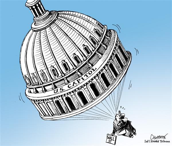 Patrick Chappatte - The International Herald Tribune - Golden Parachute - English - Economy,USA,Finance,Subprime,Crisis,Stock Market,Wall Street,Crash,Bank,Government,Housing,Real Estate,Speculation,Parliament,Capitol Hill