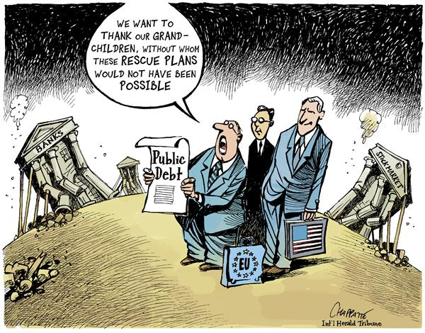 Patrick Chappatte - The International Herald Tribune - RESCUE PLANS - English - Economy,USA,Obama,Europe,Finance,Subprime,Crisis,Stock Market,Wall Street,Crash,Bank,Government,Treasury,Recession,Kids