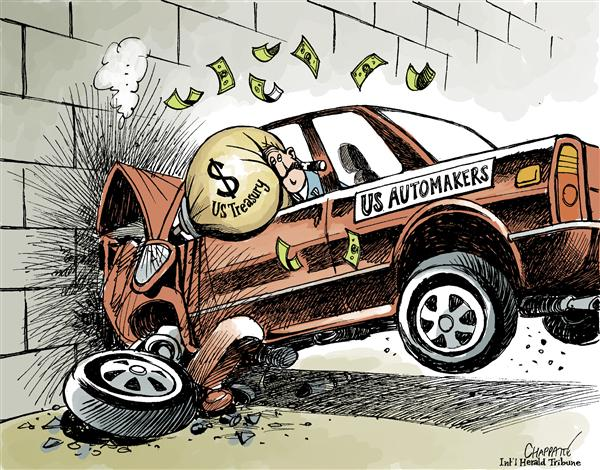 Patrick Chappatte - The International Herald Tribune - Bailout for the AUTO INDUSTRY? - English - USA,Economy,Crisis,Recession,Subprime,Cars,Money,Government