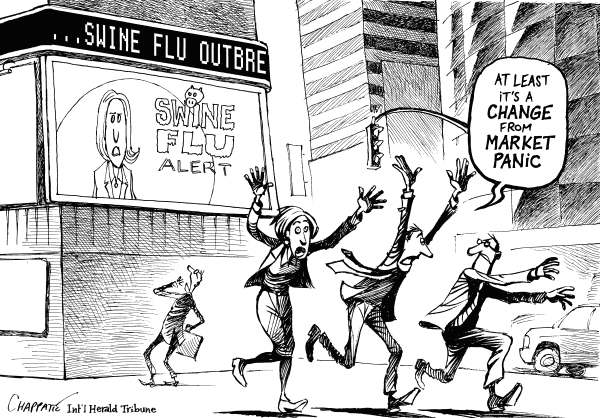 Patrick Chappatte - The International Herald Tribune - Swine Flu Is Here - English - WHO, Mexico, USA, New York, Health, Disease, Swine Flu, Finance, Crisis, Stock Exchange, Wall Street