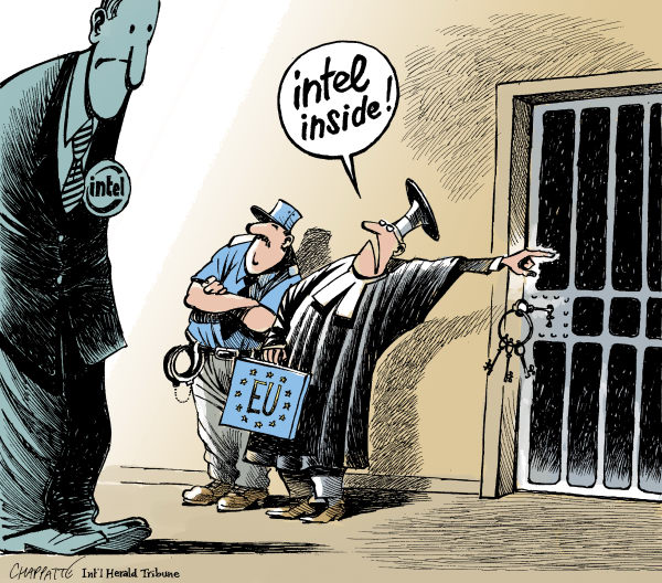 Patrick Chappatte - The International Herald Tribune - EU Rules Against INTEL - English - 				Economy,Computers,Intel,Europe,Law,Justice,Police,Prison