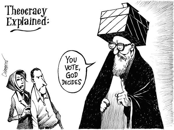 Patrick Chappatte - The International Herald Tribune - Iranian Democracy - English - 		Iran,Presidential Election,Moussavi,Ahmadinejad,Khatami,Religion,Islam,Democracy,Youth,Demonstration,God