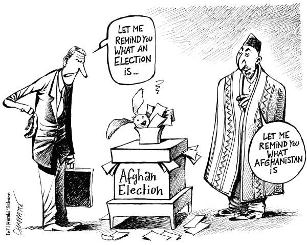 Patrick Chappatte - The International Herald Tribune - Afghan Election RIGGED - English -