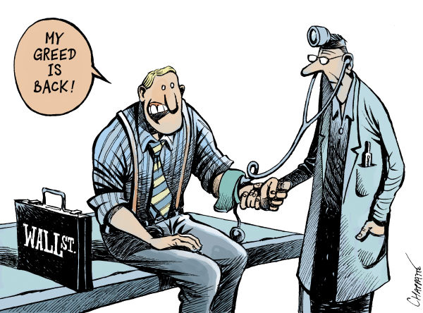 Patrick Chappatte - NZZ am Sonntag - Signs Of ECONOMIC RECOVERY - English - 		Economy,USA,Crisis,Recession,Bank,Finance,Wall Street,CEOs Compensation,Salary,Health Doctor