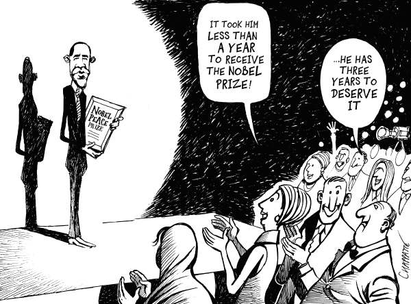 Patrick Chappatte - NZZ am Sonntag - The Nobel for Obama - English - Nobel Prize, Peace, USA, Obama