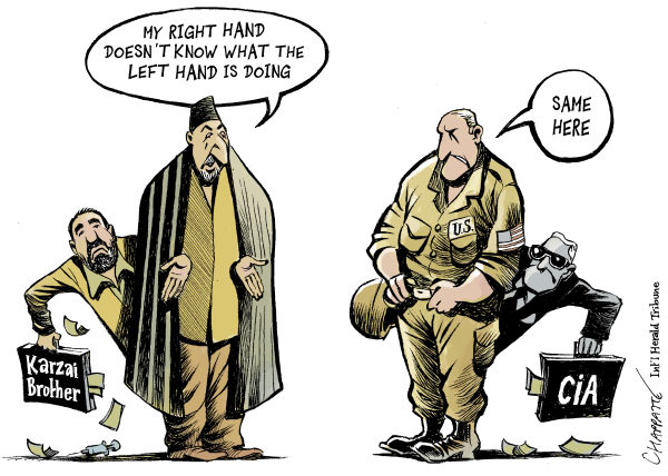 Patrick Chappatte - The International Herald Tribune - Karkai Brother On CIA Payroll COLOR - English - Afghanistan, USA, Karzai, Corruption, Democracy, US Army, CIA