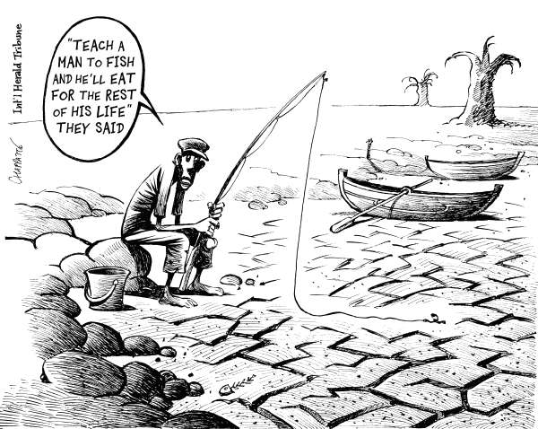 Patrick Chappatte - The International Herald Tribune - HUNGER On The RISE - English - Africa, Third World, Poverty, Food, Fishing, Water, Natural Disaster, Environment, Climate, Global Warming