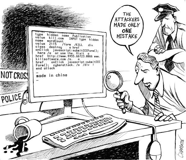 Patrick Chappatte - The International Herald Tribune - Cyberattacks - English - 		Internet, Crime, Police, China