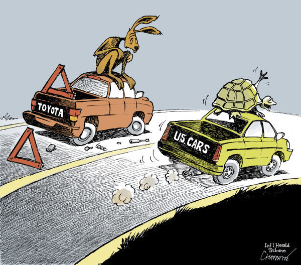TOYOTA CAR RECALL © Patrick Chappatte,The International Herald Tribune,		Cars, Toyota, USA, Industry, Economy, Hare, Tortoise