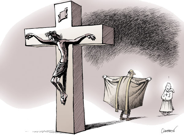 Catholic Church DISGRACED © Patrick Chappatte,NZZ am Sonntag,Religion, Roman Catholic Church, Pedophilia, Sexuality, Scandal, Children