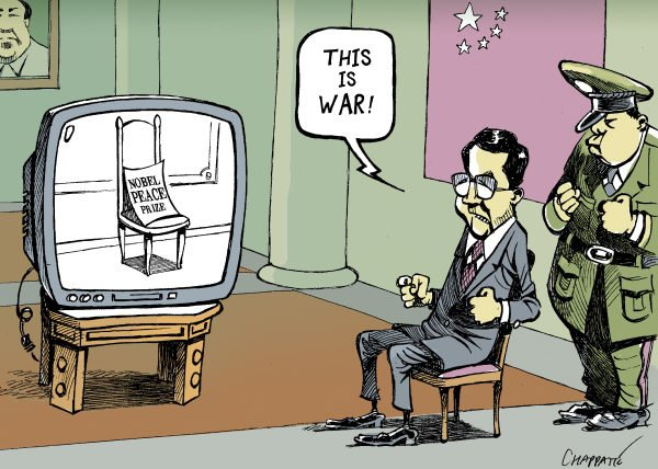 Patrick Chappatte - Le Temps, Switzerland - China Furious Over The Nobel - English - 		Nobel Prize,Peace,War,China,Liu Xiaobo,Hu Jintao,Communism,Television,Media