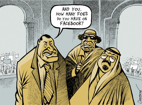 Patrick Chappatte - Le Temps, Switzerland - ARAB DESPOTS  WORRY - English - Tunisia, Egypt, Libya, Saudi Arabia, Mubarak, Kadhafi, King Abdullah, Youth, Demonstrations, Revolution, Democracy, Facebook, Internet, Computers