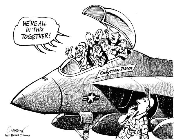 Patrick Chappatte - The International Herald Tribune - The Allies - English - Libya, International community, UNO, France, USA, Military, Obama, Sarkozy, Merkel, Fighter Jet, Civil war, Revolution, Democracy