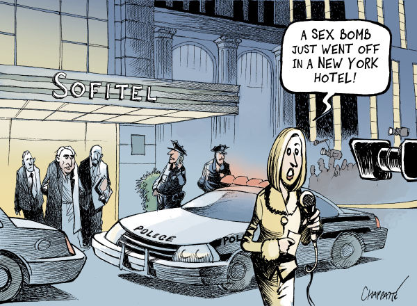 Patrick Chappatte - Le Temps, Switzerland - Head Of IMF Arrested - English - USA, France, New York, Strauss Kahn, Scandal, Sex, Criminality, Women