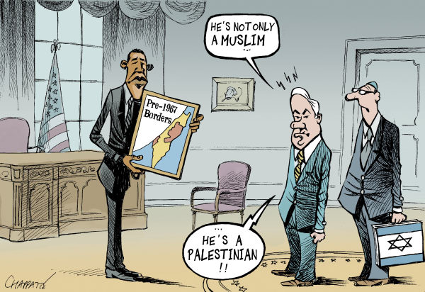 Patrick Chappatte - Le Temps, Switzerland - OBAMA Vs NETANYAHU - English - Middle East,Netanyahu,Obama,Israel,USA,Palestine,Colonization,Negotiations,Peace