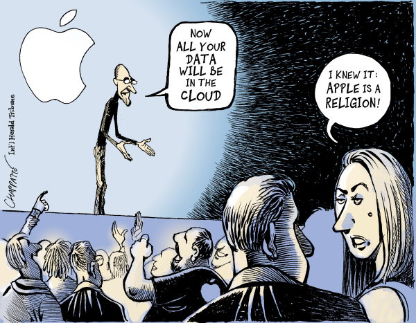 Patrick Chappatte - The International Herald Tribune - Steve Jobs Announces iCloud - English - Computers, Internet, iPhone, Apple, Economy, Steve Jobs