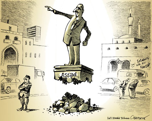 Patrick Chappatte - The International Herald Tribune - PRESIDENT ASSAD - English - Syria, Assad, Statue, Power, Demonstrations, Revolution, Democracy, Police, Arab Spring