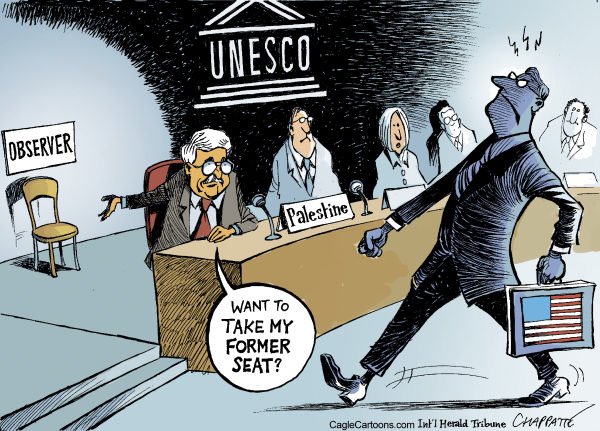 Patrick Chappatte - The International Herald Tribune - Palestine becomes full member of UNESCO - English - UN, UNESCO, Culture, Arts, International Community, United States, Israel, Palestine, Abbas, War