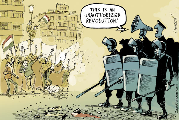 Patrick Chappatte - The International Herald Tribune - Tahrir Square is Rebelling Again - English - Egypt, Army, Police, Youth, Demonstration, Revolution, Democracy