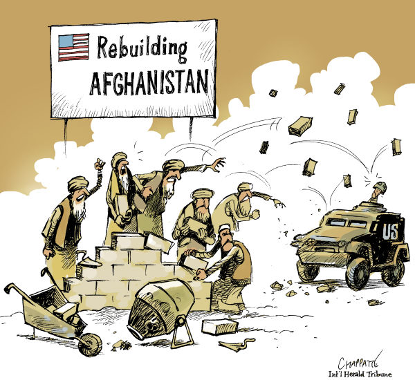 Patrick Chappatte - The International Herald Tribune - HOSTILITY Is Growing In AFGHANISTAN - English - 		USA,US Military,Middle East,Afghanistan,War against terrorism,Reconstruction,Demonstration