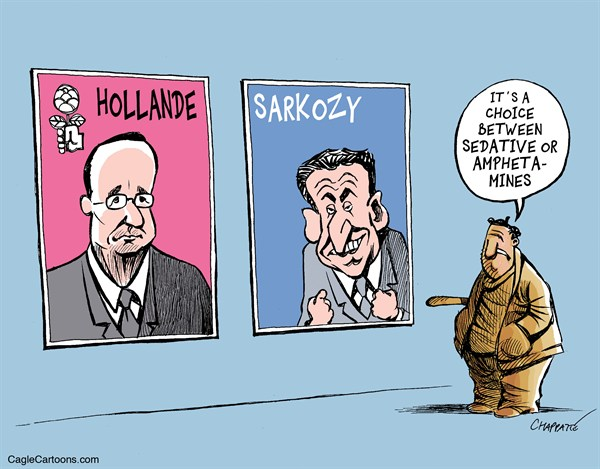 Patrick Chappatte - The International Herald Tribune - HOLLANDE vs SARKOZY - English - France, Sarkozy, Hollande, Socialist Party, Left, Right, Presidential Election 2012
