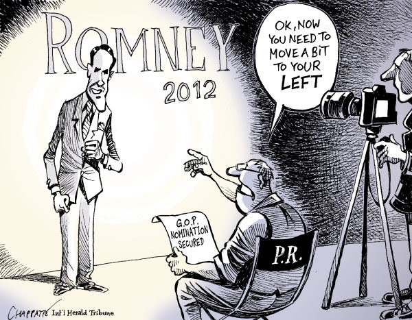 Patrick Chappatte - The International Herald Tribune - MITT ROMNEY THE NOMINEE - English - USA, Presidential Election 2012, Republicans, Romney, Media, Television