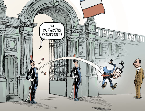 Patrick Chappatte - Le Temps, Switzerland - NICOLAS SARKOZY OUSTED - English - France, Presidential Election 2012, Sarkozy, Hollande, Right, Socialist Party