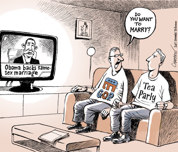 Patrick Chappatte - The International Herald Tribune - OBAMA AND SAME-SEX MARRIAGE - English - Obama, USA, Social, Republicans, Right, Tea Party, Wedding, Same-sex marriage, Gay, Homosexuality