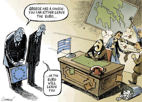 Not getting better in GREECE © Patrick Chappatte,Le Temps, Switzerland,European Union, Greece, Euro, Single Currency, Crisis, Economy