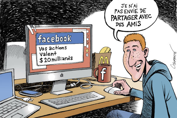 Patrick Chappatte - Le Temps, Switzerland - FACEBOOK IPO - English - Computer, Internet, Facebook, Media, Wall Street, Stock Exchange, Economy, Zuckerberg