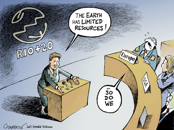 Patrick Chappatte - The International Herald Tribune - Rio+20 Summit - English - Brazil, Economy, Rio Conference, Earth Summit, Environment, Climate, European Union, Euro, Crisis, Single Currency