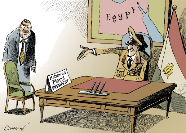 Patrick Chappatte - The International Herald Tribune - NEW EGYPTIAN PRESIDENT - English - Egypt, Democracy, Presidential Election, Military, Muslim Brotherhood, Islam, Power
