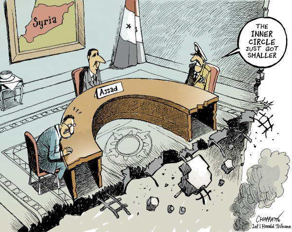 Patrick Chappatte - The International Herald Tribune - ASSAD ATTACKED - English - Syria, Assad, Power, Attacks, Bomb, Civil War