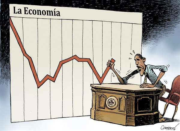 Patrick Chappatte - The International Herald Tribune - Obama y la Economia - Spanish - Barack,Obama,presidente,USA,economia,desempleo,crisis,eleccion,presidencial,2012