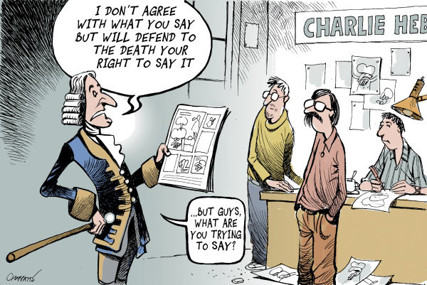 Patrick Chappatte - Le Temps, Switzerland - French satirical magazine prints Muhammad cartoons - English - Islam, Religion, Muhammad, Cartoon, Humor, Demonstration, Middle East, Press, France, Charlie Hebdo, Media, Voltaire