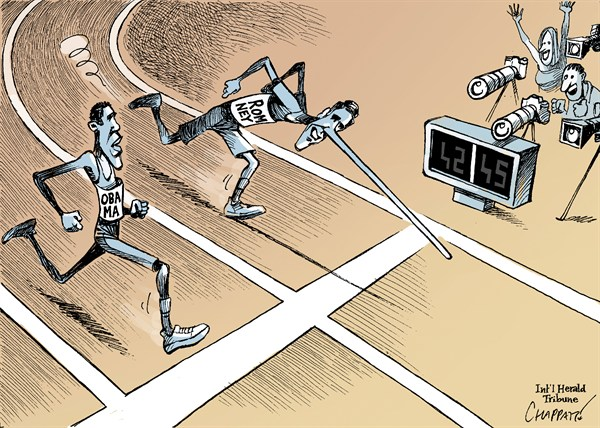 Patrick Chappatte - The International Herald Tribune - ROMNEY takes the LEAD - English - Obama, Romney, USA, Presidential Election 2012, Debate, Television, Media, Race, Sports