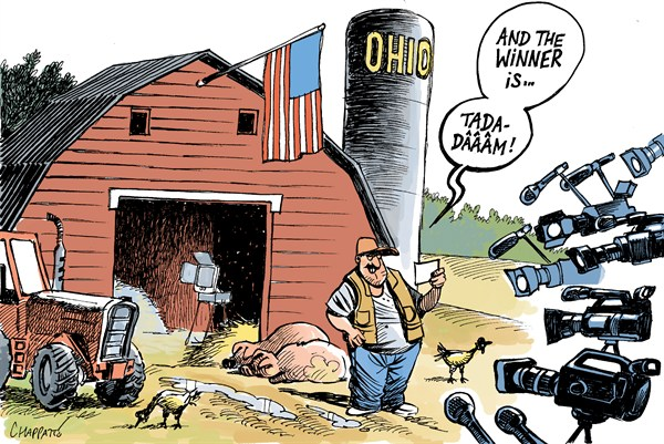 Patrick Chappatte - Le Temps, Switzerland - OHIO IS VOTING - English - 				USA,Ohio,Presidential Election 2012,Obama,Romney,Agriculture