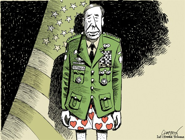 Patrick Chappatte - The International Herald Tribune - Downfall of DAVID PETRAEUS - English - 		USA,US Military,CIA,Petraeus,Wedding,Sexuality,Scandal