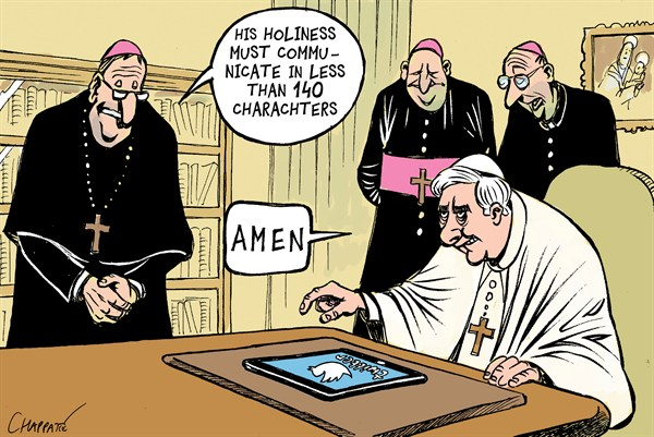 Patrick Chappatte - Le Temps, Switzerland - The POPE is on TWITTER - English - 		Benedict XVI,Pope,Catholic Church,Vatican,Twitter,Internet,Media