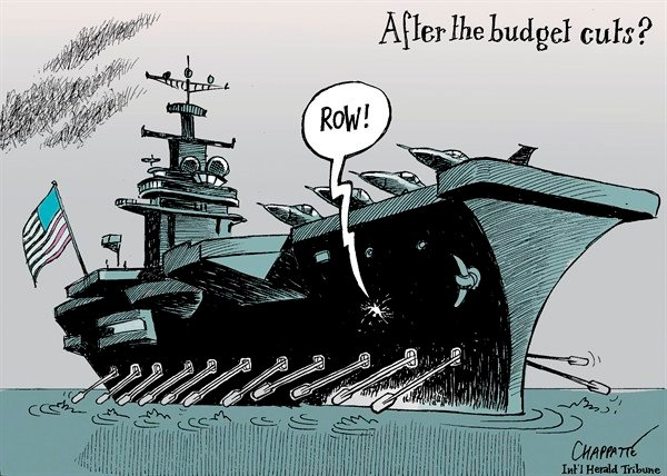 Patrick Chappatte - The International Herald Tribune - US Military and Sequestration - English - USA, Public Finances, Economy, Money, US Military, Boat, Sea